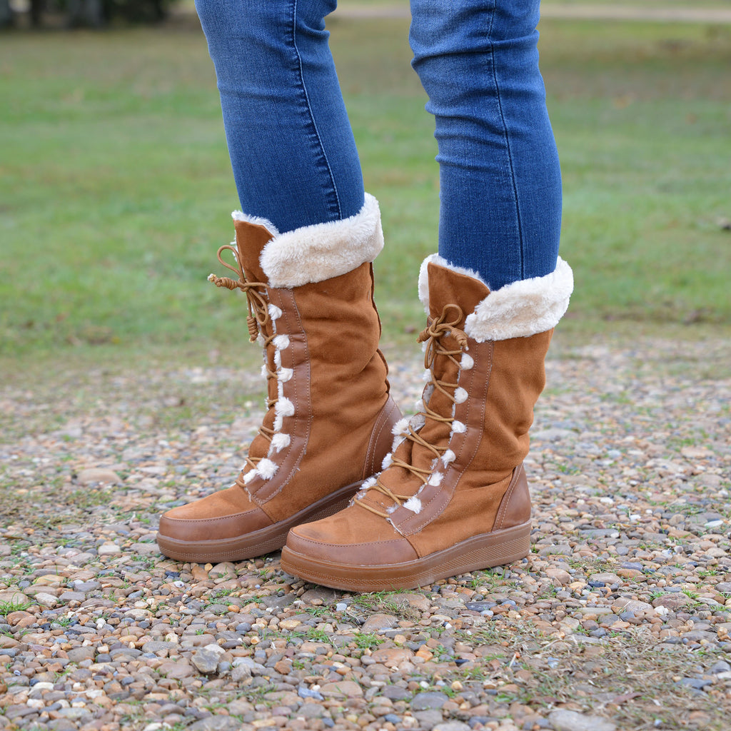 Lost In Wonderland Tan Snow Boots
