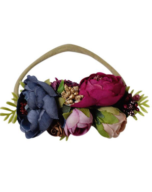 Denim & Mauve Floral Headband