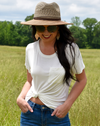 white v-neck pocket t-shirt