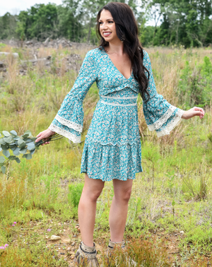short boho mini lace long sleeve teal blue floral dress