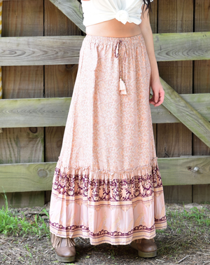 light pink floral boho long maxi skirt