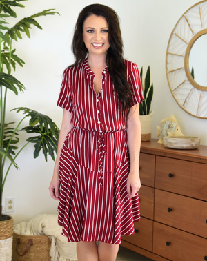 red striped short boho dress
