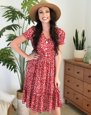 red floral short sleeve midi dress
