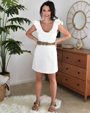 white ruffle sleeve sleeveless short mini dress