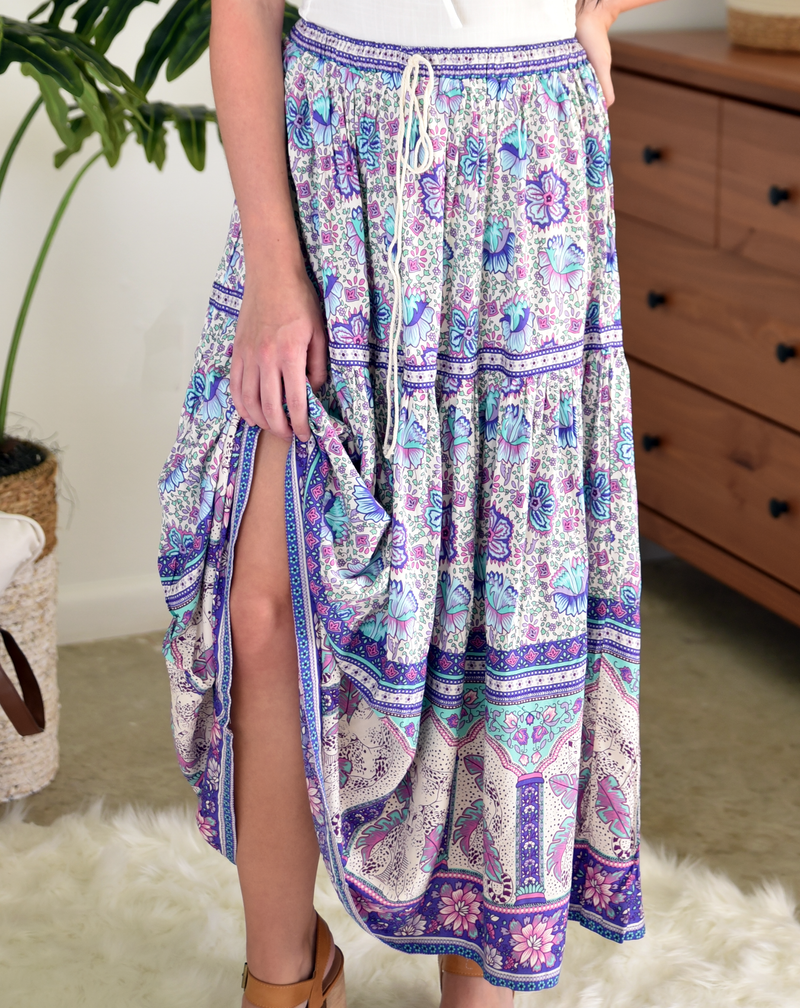 purple floral long maxi skirt