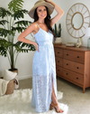 sky blue sheer lace long maxi dress