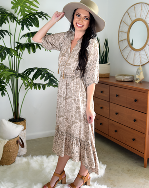 taupe floral boho maxi dress