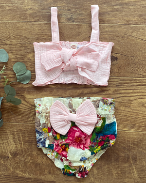 toddler girls two piece pink bow set