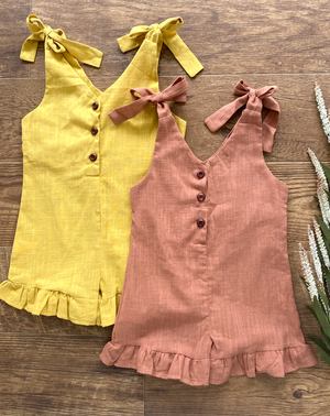caramel and mustard girls/toddler romper