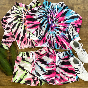 blue, green, and pink tie-dye hoodie pullover lounge set