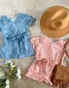 blue & peach pink toddler girls lace rompers