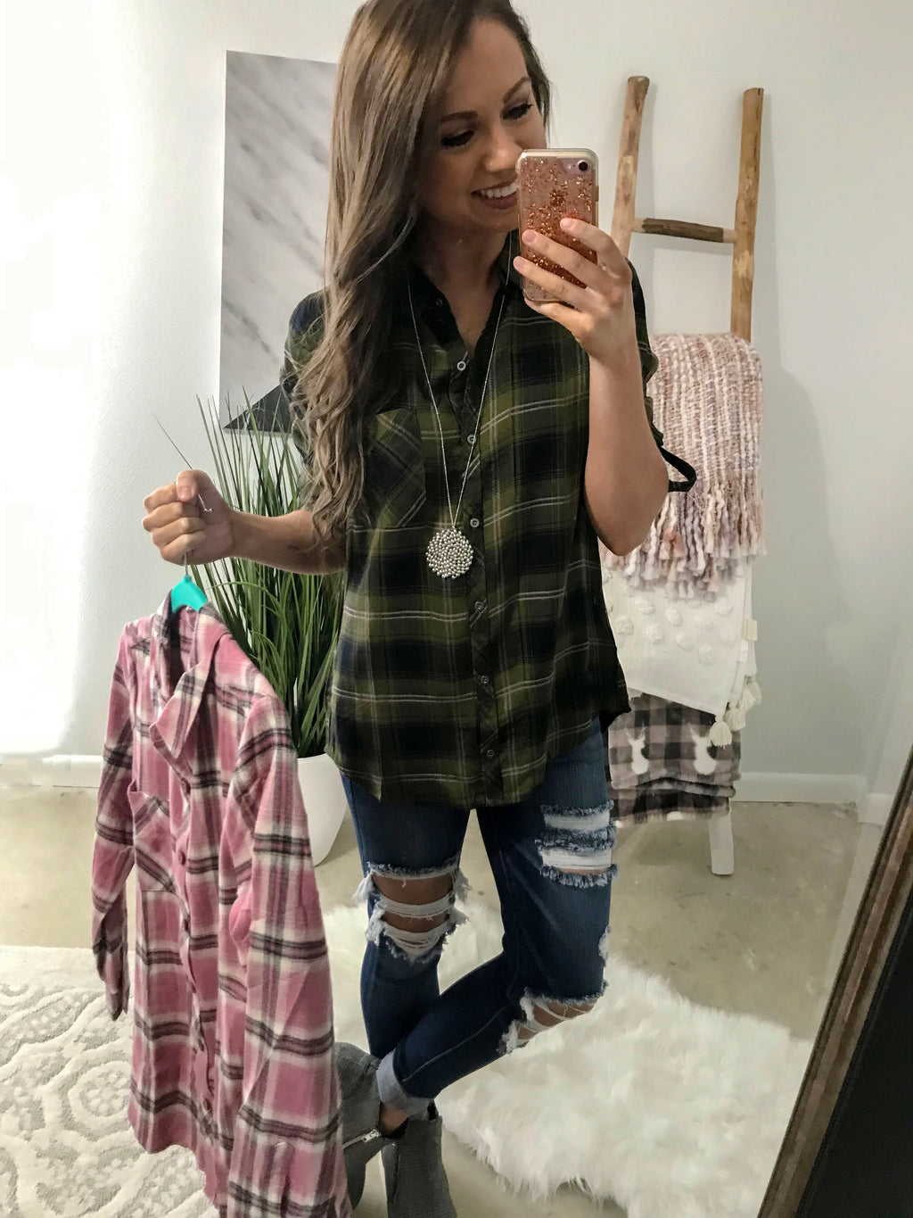 Getting Better Plaid Top