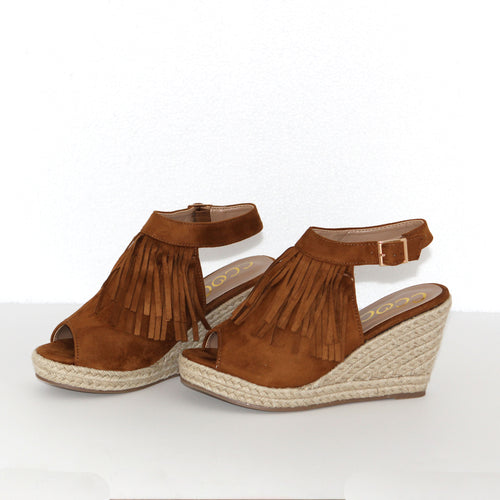 Find Your Fire Tan Fringe Wedge