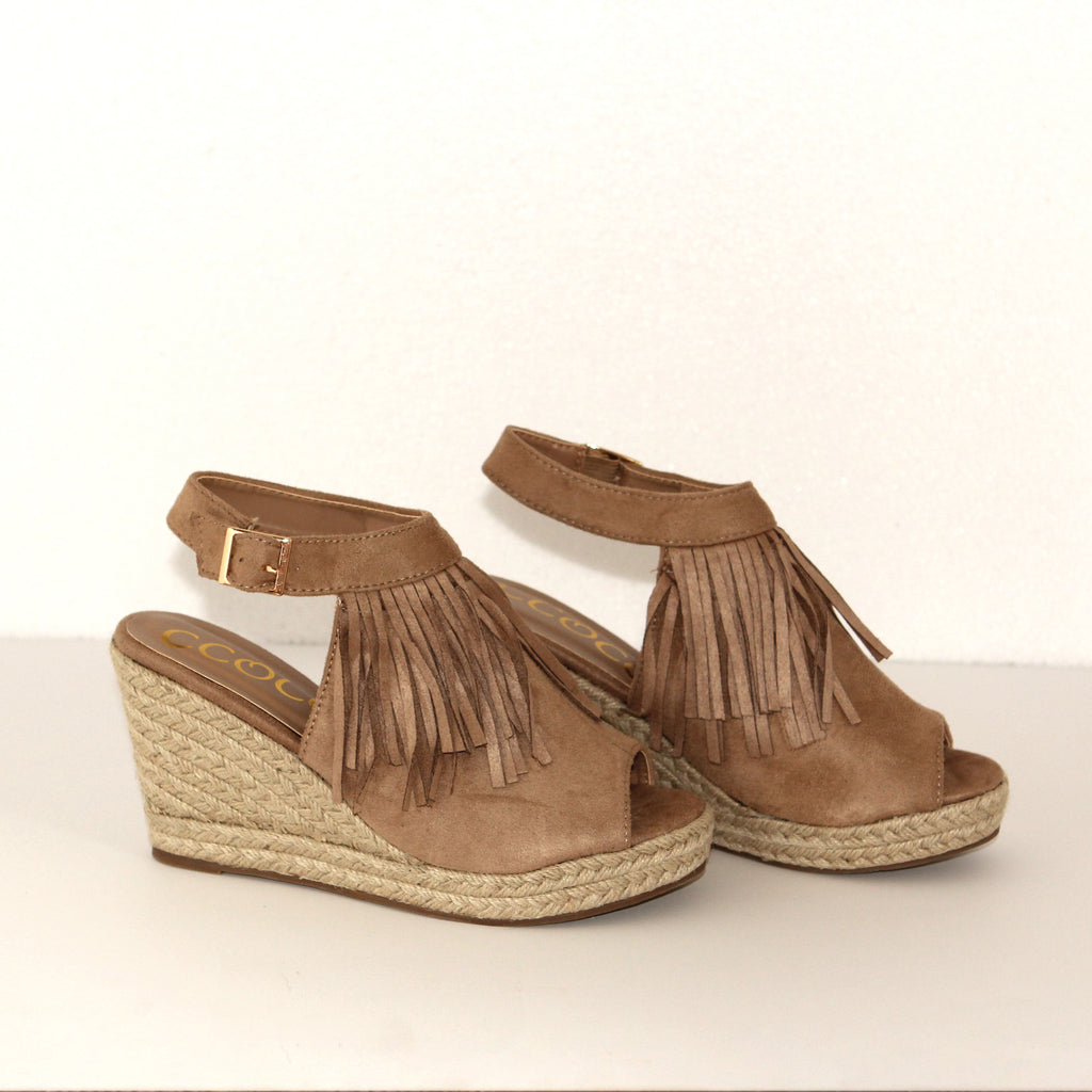 Find Your Fire Taupe Fringe Wedge