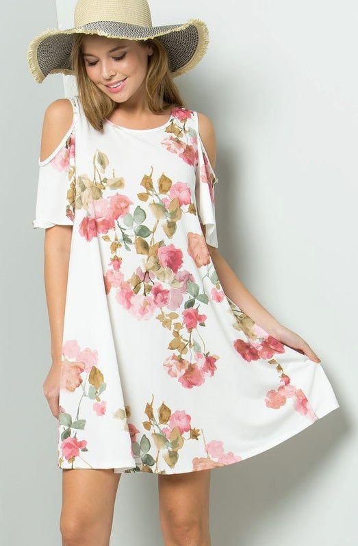 My Happy Place White Floral Dress