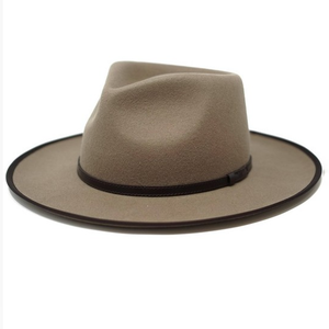 women's taupe felt hat