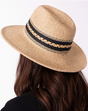 beige tan black straw rattan panama hat