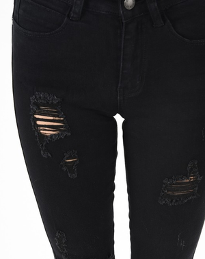 black denim distressed jeans