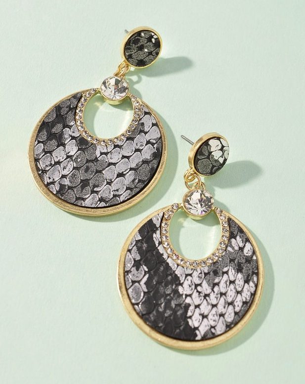 black and grey gold rhinestone round snake earrings