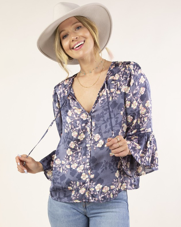 silky denim navy blue floral button up top