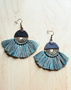 blue tassel metal handmade earrings