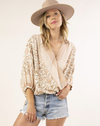 silky blush pink floral wrap top