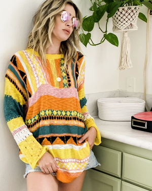 yellow multi color aztec sweater