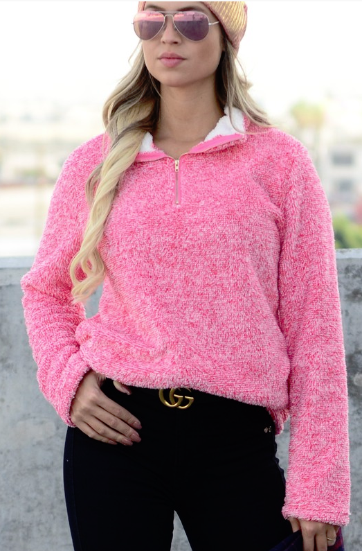 Feeling the Warmth Pink Sherpa Pullover