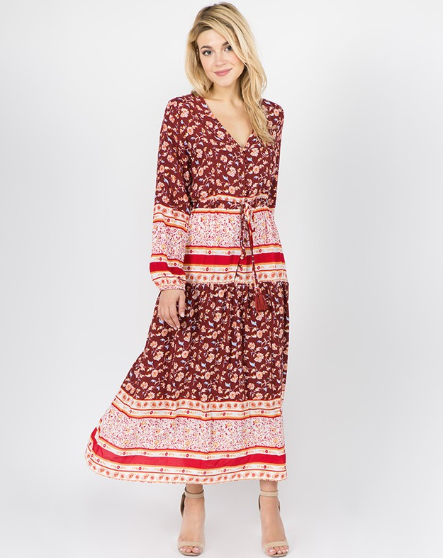 red long sleeve floral maxi dress