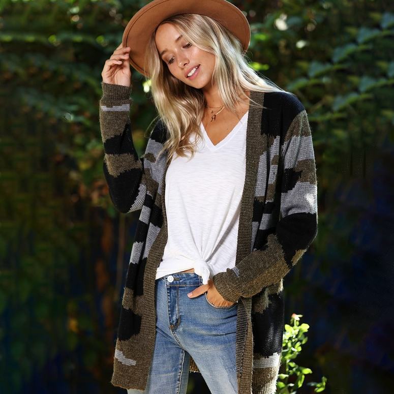 On The Lookout Camo Sweater Cardigan