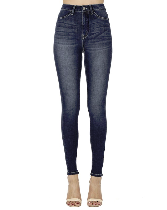 solid medium blue denim high-waisted jeans