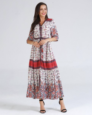 fully button red floral maxi dress