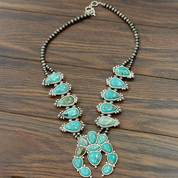 Still Got It Turquoise Squash Blossom Necklace