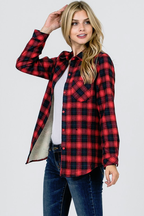 A Classic Twist Red & Navy Plaid Top