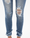 high rise distressed jeans fringe hem