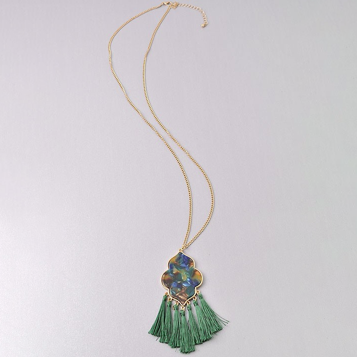 Wouldn't Change It Green Tassel Necklace