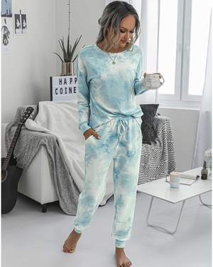 blue sweatshirt long sleeve pant lounge set