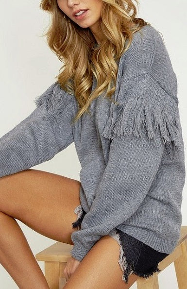 Get To It Grey Fringe Sweater