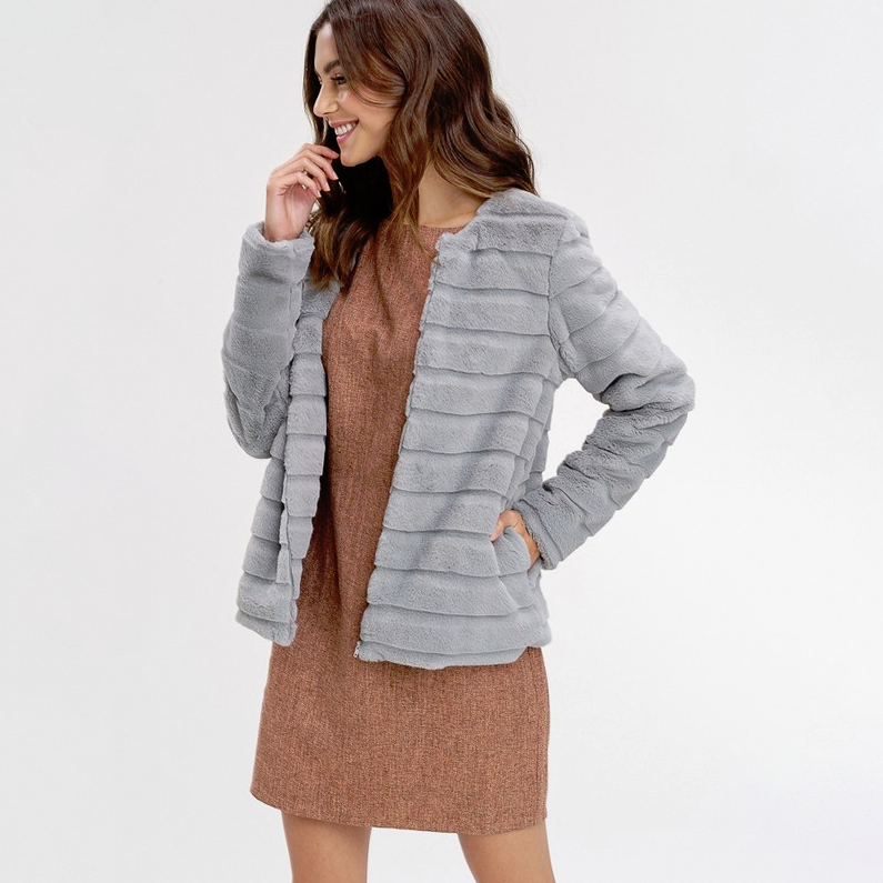 Worth it All Faux Fur Grey Jacket