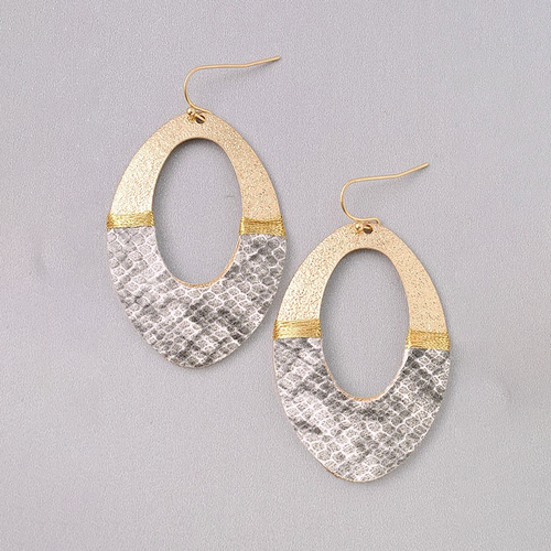 Just My Style Grey Snake Print Earrings