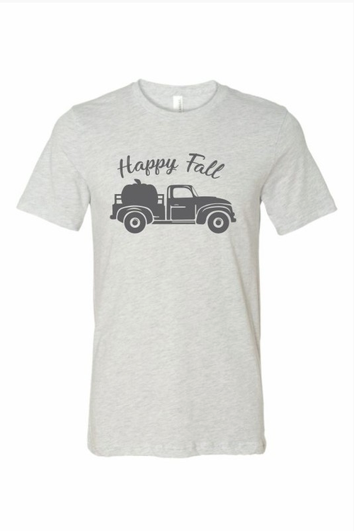 Happy Fall Ash Grey Graphic Tee