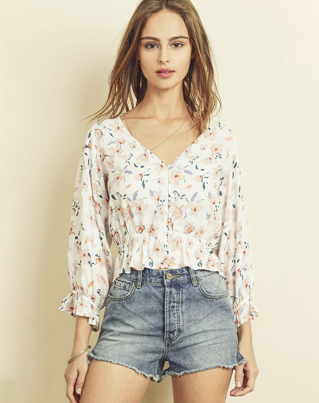 white long sleeve floral crop top