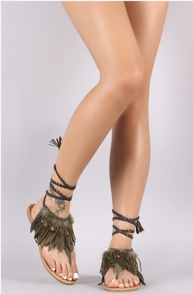 Embellish A Little Khaki Feather Sandals