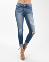 high rise distressed jeans cuffed hem