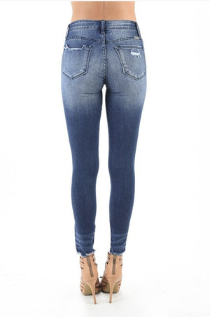 mid-rise medium blue distressed denim jeans