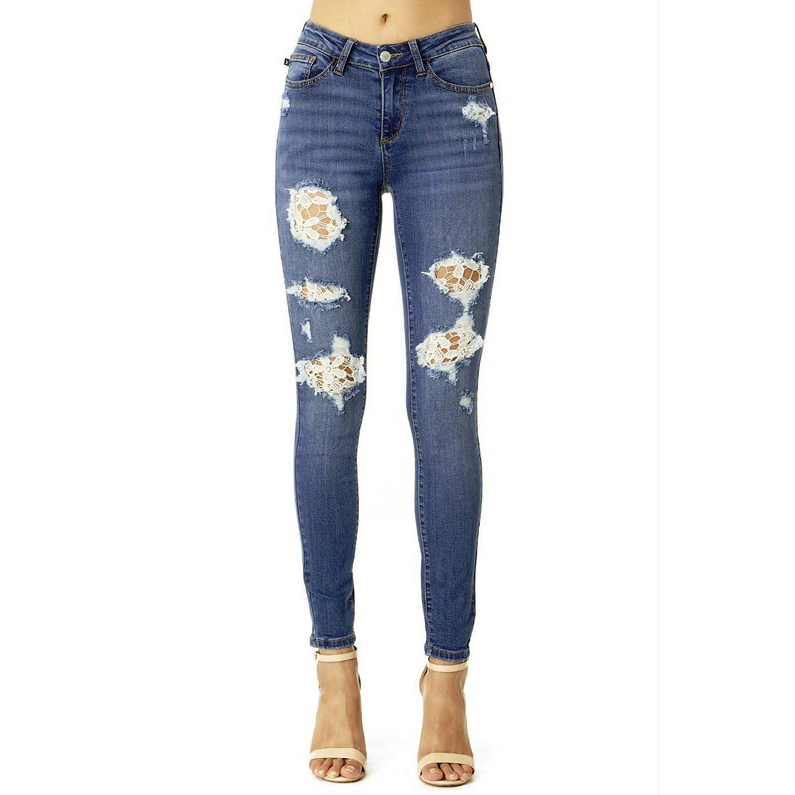 Flaunt Your Style Lace Denim Jeans