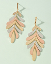 multi color gold rose silver leaf dangle earrings