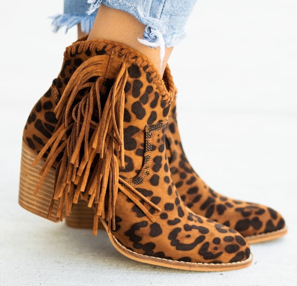 Take The Next Step Leopard Fringe Booties