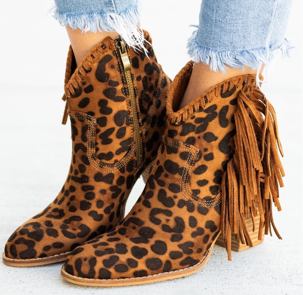a13641c6b8e7 Take The Next Step Leopard Fringe Booties – The Lace Anchor