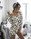 leopard print long sleeve lounge set with shorts